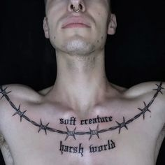 Image barbed wire tattoo hosted in Life Trends 1 Torso Tattoos, Wörter Tattoos, Time Tattoos, Tattoos For Guys, Feather Tattoos, Tatoos, Lace Tattoo, I Tattoo, Tattoo Black