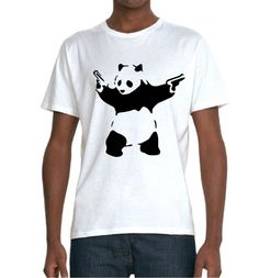 Panda T-shirt (not Banksy) – £15    http://banksyt-shirts.com/panda-t-shirt-not-banksy/    So no Banksy tags on it, just a good looking bad panda!    Still printed on a super soft organic t-shirt and it looks mighty fine!    The Panda is actually by an artist called Julien Fanton D'Andon and the design was for a record company called Bad Panda records (hence the design). Check out his site here! http://www.juliendandon.com/Kulte.html