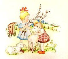 J. Wust Easter Illustration, Vintage Art Prints, Holiday Cards, Rooster, Past, Children, Sarah Kay, Vintage Illustrations, Crafts