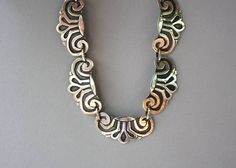 Vintage Taxco Sterling Necklace / 1950s Sterling Silver Taxco