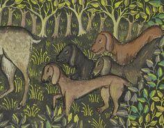 Bad dogs.  Gaston Phoebus, Livre de la Chasse, Brittany ca. 1430-1440.  LA, Getty, Ms. 27, fol. 81v