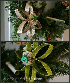 glittered toilet paper roll ornaments
