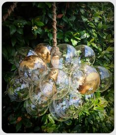 Custom Ethereal Gilded Floating Glass Bubble by TheLightFactory, $375.00  Could make this myself - light kit, clear Christmas baubles, fishing line, glitter paint (or none).