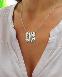 Personalized Monogram Necklace - Silver Monogram Necklace - 1 inch - monogrammed gifts - 925 Sterling Silver