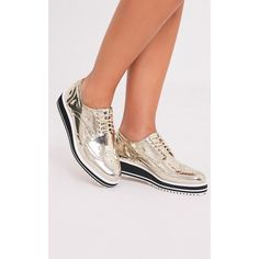 Irina Gold Metallic Platform Brogues - 6 featuring polyvore women's fashion shoes oxfords yellow platform oxfords metallic gold shoes yellow platform shoes platform shoes metallic shoes