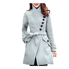 Oblique Button High Neck Belted Coat (130 BRL) ❤ liked on Polyvore featuring outerwear, coats, grey, gray coat, belt coat, button coat, grey coat and belted coat