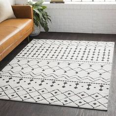 Union Rustic Rhodes Black/Charcoal Area Rug Rug Size: Rectangle x Rhodes, White Shag Area Rug, White Rugs, Grey Rugs, Plush Area Rugs, White Bohemian, Material Design, Carpet Runner, Runner Rugs