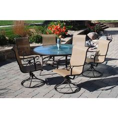 cameron 7 piece patio dining set with lazy susan seats 6 search