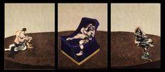 Tableaux sur toile, reproduction de Francis Bacon, Trois personnages dans une pièce