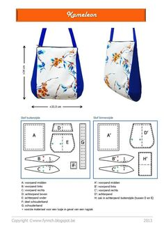 Fynn: Patroon: de Kameleon - I like the ideas I get looking at this bag: knotted closure to one side only, and side panels. Free PDF patterns and tutorials for some lovely bags in the Patterns Fynn section. Handbag Patterns, Bag Patterns To Sew, Pdf Patterns, Free Pattern, Diy Purse, Tote Purse, Sacs Tote Bags, Lv Bags, Diy Sac