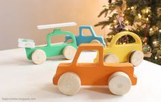DIY Wood push car truck and helicopter toy plans with template - easy to make from scrap wood! ...
