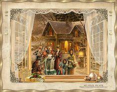 Animated Gif by Scarlett Crespin Merry Christmas To All, Christmas Scenes, Vintage Christmas Cards, Retro Christmas, Christmas Carol, Christmas Pictures, Christmas Snowman, Kitsch, Xmas Gif