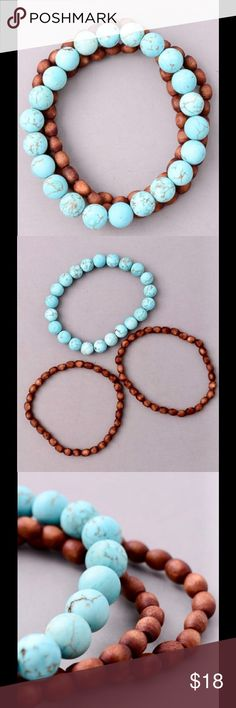 """Wooden & natural stone beaded stretch bracelet Turquoise stone & brown stained beaded stretch bracelet. Set of 3, includes one turquoise and two brown bracelets. 7"""" Angelique's Atelier Jewelry Bracelets"""