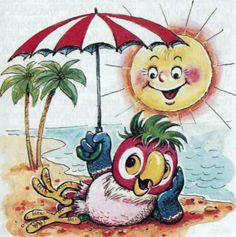 Kleiner Papagai unter Sonnenschirm am Strand ... kindlich lachene Sonne ... Urblaub Cartoon Zeichnung