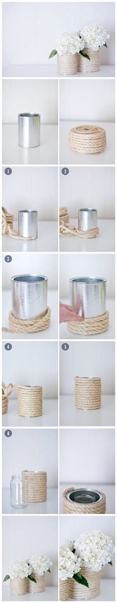 rope glued around paint can to create rope covered container. DIY