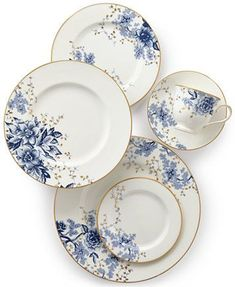 Image 2 of Lenox Garden Grove Collection Blue Dishes, White Dishes, Blue And White China, Blue China, China China, Ceramic Plates, Decorative Plates, Decorative Accents, Ceramica Artistica Ideas