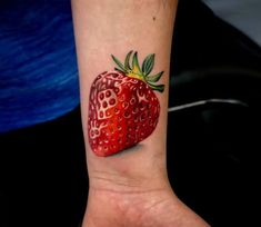 Strawberry, nice 2 color realistic tattoo style done by tattoo artist Edward Best Strawberry Tattoo, Strawberry Drawing, Strawberry Art, World Famous Tattoo Ink, Famous Tattoos, Food Tattoos, Music Tattoos, Tatoos, Little Tattoos