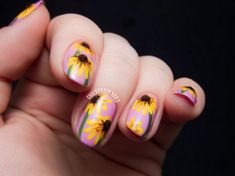 The Lacquer Legion Garden: Black-Eyed Susan Floral Nail Art Flower Nail Designs, Cute Nail Art Designs, Gel Nail Designs, Rose Nails, Flower Nails, Gel Nails, Olive Nails, Sunflower Nail Art, Floral Nail Art