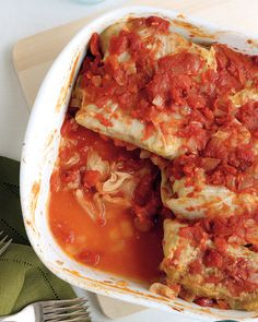 Stuffed Cabbage with Beef and Rice   Martha Stewart Living - This nourishing fall meal is a sure crowd-pleaser. Try substituting ground pork for the beef. Braise leftover cabbage or shred it and enjoy in a salad or slaw.