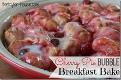 Cherry Pie Bubble Breakfast Bake using Pillsbury Biscuits and only a couple other ingredients.  A Delicious Dessert Idea too!