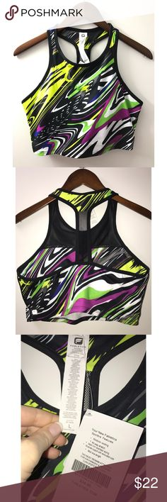 Fabletics Midi Sports Bra (L) NWT Midi moisture wicking sports bra.  Moderate support with removable cups.  Multicolor. Fabletics Intimates & Sleepwear Bras