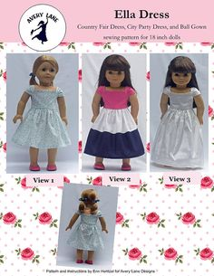 NEW Ella Dress 18 inch doll clothes Sewing Pattern  by AveryLane