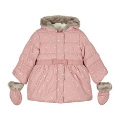 RJR.John Rocha Designer girl's pink embroidered padded coat and mittens- | Debenhams