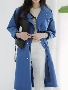 Ericdress Loose Hidden Button Trench Coat Trench Coats