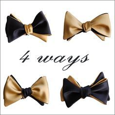 Black & Champagne Gold 4-way Butterfly Wing Bow Tie $73.28