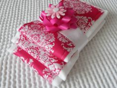 Pink and White Baby Burp Cloths set of 3 by luvstobecreative, $19.95