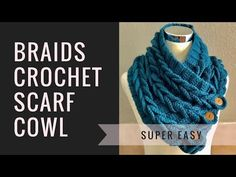 Braids Crochet Scarf Cowl - Easy Perfect for Beginners - YouTube