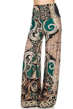High Waist Fold Over Wide Leg Gaucho Palazzo Pants (Exquisite Jade)