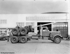 c1950s big rig and tires, side view