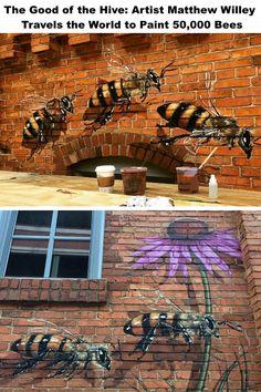 The Good of the Hive: Artist Matthew Willey Travels the World to Paint Bees – My Street Inspiration Street Art, Murals, Bee, Urban art Graffiti Art, Banksy Art, Graffiti Painting, Bee Painting, Street Wall Art, Amazing Street Art, Bee Art, Modern Art Paintings, Street Artists