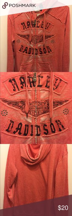Harley Davidson Coral Hoodie Harley Davidson, Women's Hoodie- Size XL. Beautiful coral/salmon colored sweatshirt with hood. Gorgeous details and Harley Davidson logo. Never worn / New with tags! Harley-Davidson Tops Sweatshirts & Hoodies