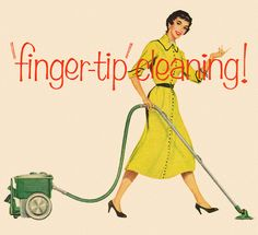 """finger-tip"" cleaning - detail from 1955 Lewyt Vacuum ad."
