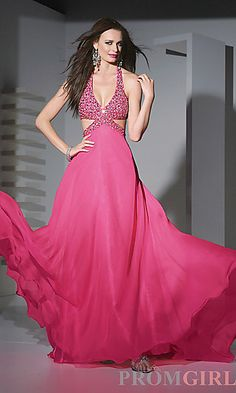 Long Beaded Chiffon Formal Gown at PromGirl.com  If this isn't my prom dress, I think I'll cry.