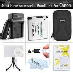 Must Have Accessory Kit For Canon Powershot Elph 190 IS ELPH 180 ELPH 150 IS ELPH 350 HS A2500 ELPH 170 IS ELPH 160 ELPH 360 HS Camera Includes Replacement NB11L Battery  Charger  Case  *** For more information, visit image link. (This is an affiliate link)