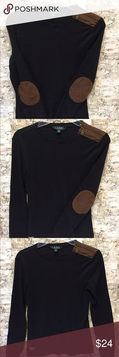 Super Chic Lauren Ralph Lauren Shirt  This darling design put out by Ralph Lauren is classic! The brown sued elbow patches and shoulder detail with the gold zipper are truly eye-catching. Autumn is coming: make sure you're ready to rock it!  Lauren Ralph Lauren Tops Tees - Long Sleeve