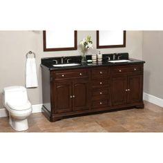 "Black counter w white double sinks.  Luton 72"" Double Sink Vanity Granite Top Costco"