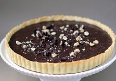 The Galley Gourmet: Sunday DinnerChocolate Hazelnut Tart  served with lightly sweetened whipped cream