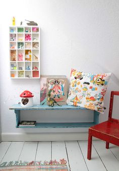I love these little half/desk/shelf tables!  Would love to make one somewhere in my house for the grandkids.