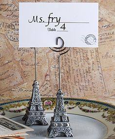 """""""From Paris with Love Collection"""" Eiffel Tower  place card holder favors"""