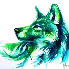 Emerald Wolf - Print sold by Katy Lipscomb. Shop more products from Katy Lipscomb on Storenvy, the home of independent small businesses all over the world. Pencil Drawings Of Animals, Art Drawings, Wolf Drawings, Watercolor Wolf, Tattoo Watercolor, Art Aquarelle, Wolf Pictures, Beautiful Wolves, Wolf Tattoos