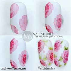 Nail Art Designs In Every Color And Style – Your Beautiful Nails Sharpie Nail Art, Gel Nail Art, Nail Art Diy, Diy Nails, Cute Nails, Water Color Nails, Nail Techniques, Manicure Y Pedicure, Flower Nail Art