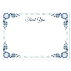 Cute, flat thank you note card with blue and blue-green flowers and leaves. White back.