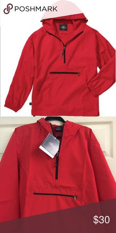 Red Charles River Rain Jacket Best seller. Conveniently packs into its pouch pocket. Wind and water-resistant. 100% Softex Polyester. Unlined and lightweight. Underarm grommets for ventilation and elasticized cuffs. Open hem with shock cord drawstring. New with tags. True to size. Charles River Apparel brand. Charles River Apparel Jackets & Coats