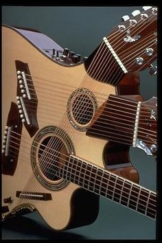 The Pikasso guitar that luthier Linda Manzer designed for musician Pat Metheny. Jazz Guitar, Guitar Art, Guitar Strings, Music Guitar, Cool Guitar, Playing Guitar, Ukulele, Guitar Pics, Pat Metheny