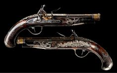Pair of wonderfully decorated flintlock pistols from Northern Italy, late 18th century.