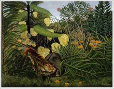 「トラとバッファローの戦い」 1908年 原画サイズ(170×189.5cm) 所蔵:クリーヴランド美術館